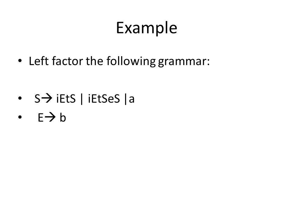 Example Left factor the following grammar: S  iEtS   iEtSeS  a E  b