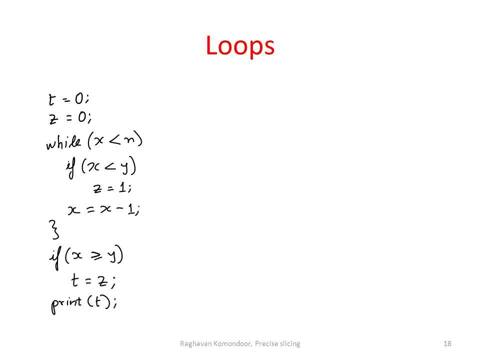 Loops Raghavan Komondoor, Precise slicing18