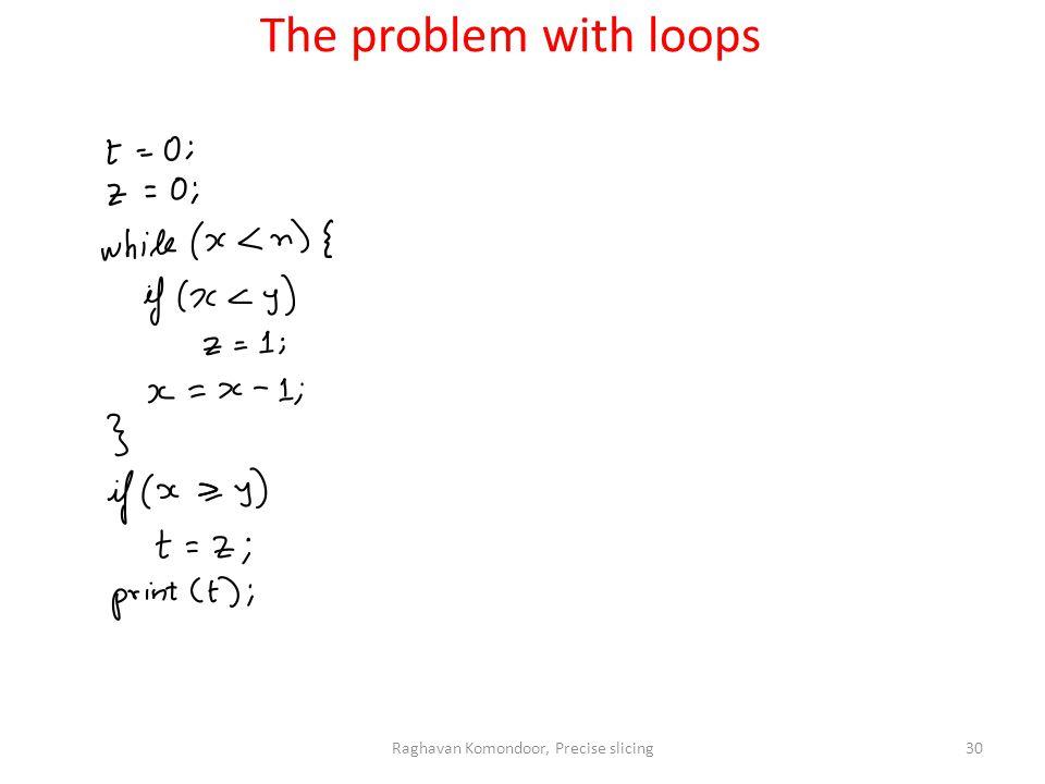 Raghavan Komondoor, Precise slicing30 The problem with loops