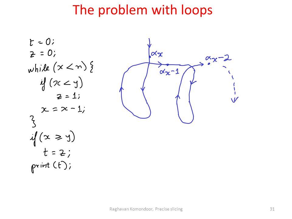 Raghavan Komondoor, Precise slicing31 The problem with loops