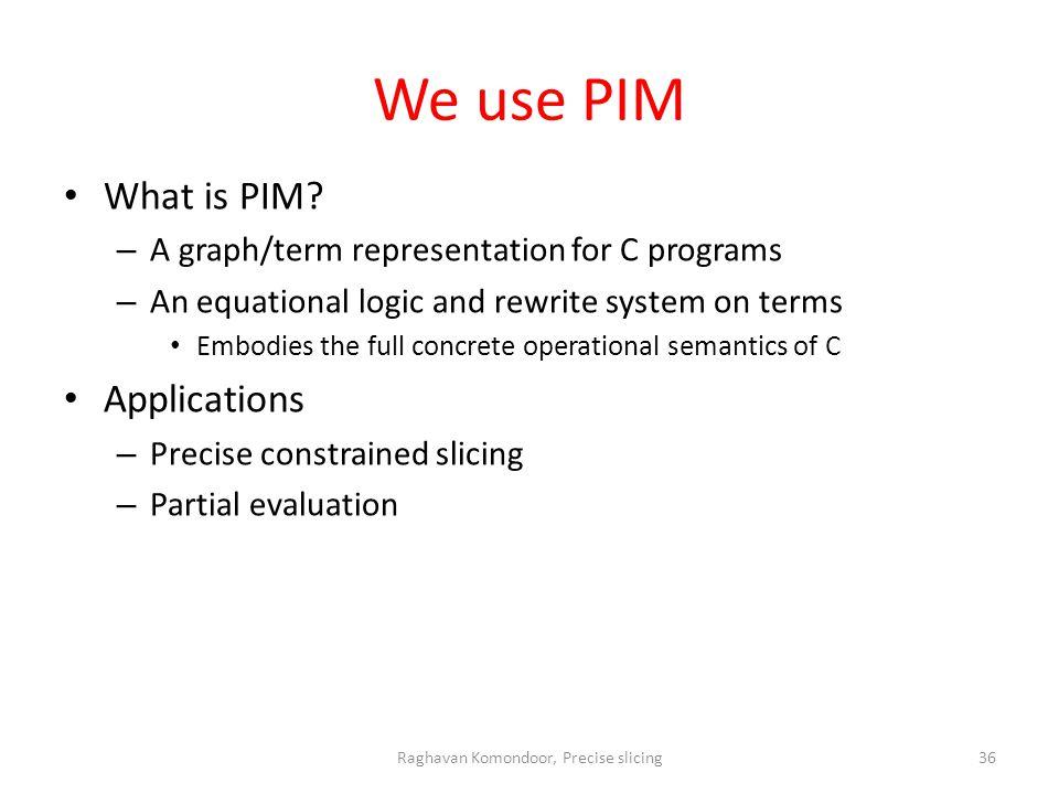 We use PIM What is PIM.