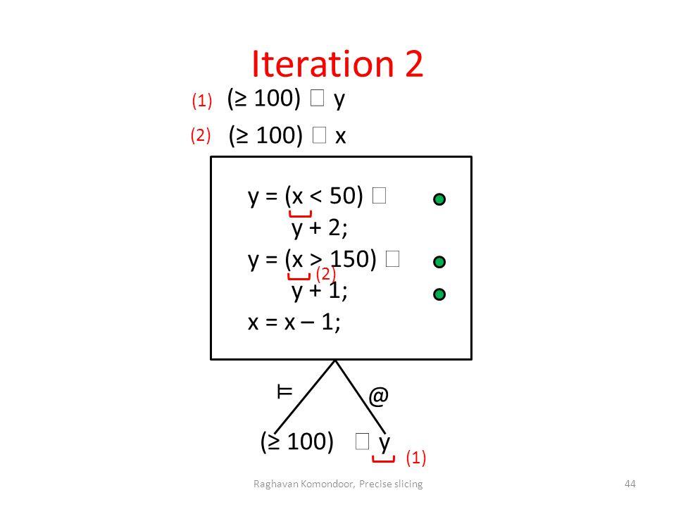 Iteration 2 @ (1) (2) (1) (2) ⊨ Raghavan Komondoor, Precise slicing44