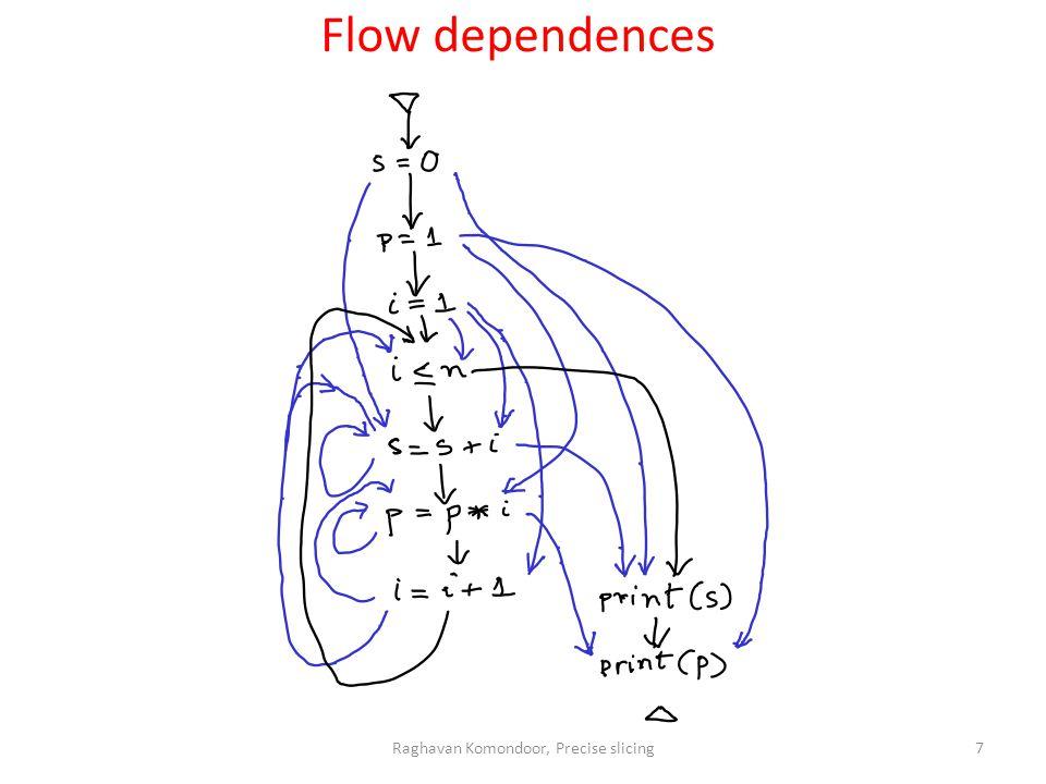 Raghavan Komondoor, Precise slicing7 Flow dependences