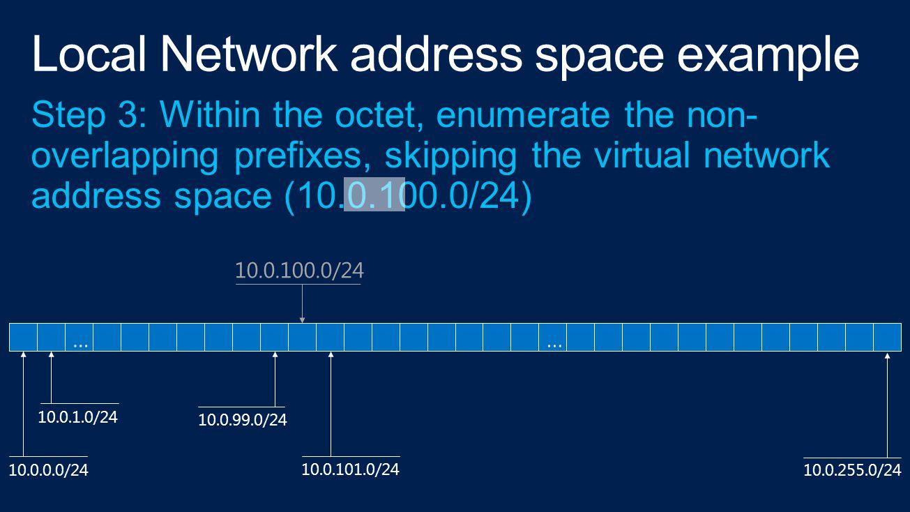 10.0.0.0/24 10.0.1.0/24 10.0.99.0/24 10.0.101.0/24 10.0.255.0/24 10.0.100.0/24