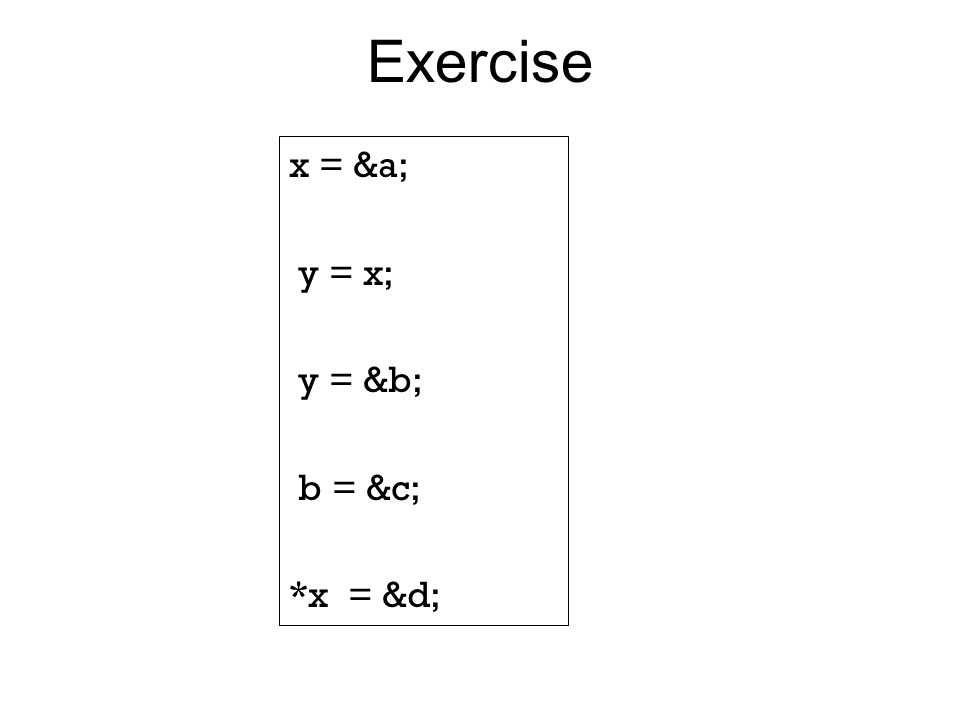 Exercise x = &a; y = x; y = &b; b = &c; *x = &d;
