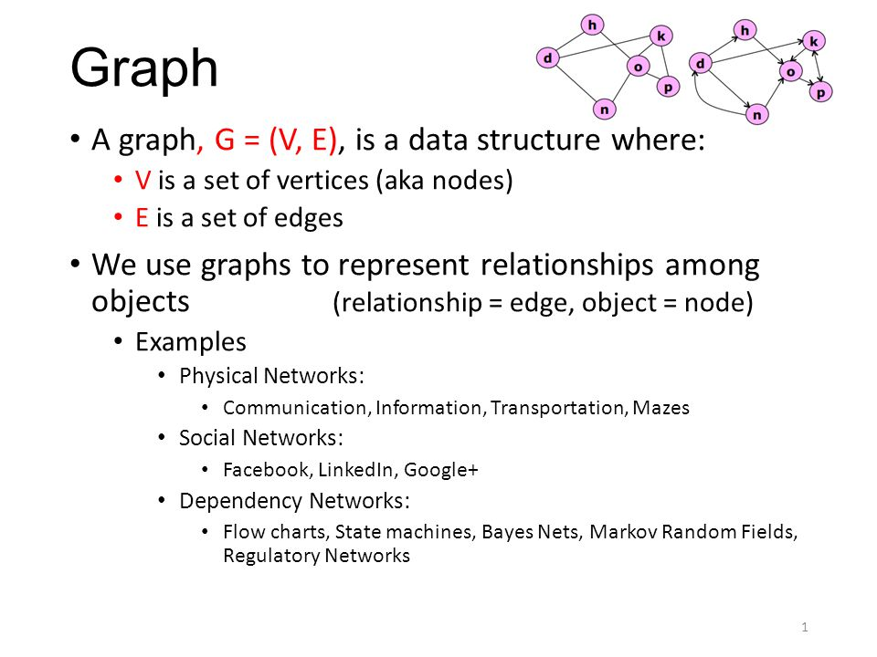 Graph A graph, G = (V, E), is a data structure where: V is a set of vertices (aka nodes) E is a set of edges We use graphs to represent relationships among objects (relationship = edge, object = node) Examples Physical Networks: Communication, Information, Transportation, Mazes Social Networks: Facebook, LinkedIn, Google+ Dependency Networks: Flow charts, State machines, Bayes Nets, Markov Random Fields, Regulatory Networks 1