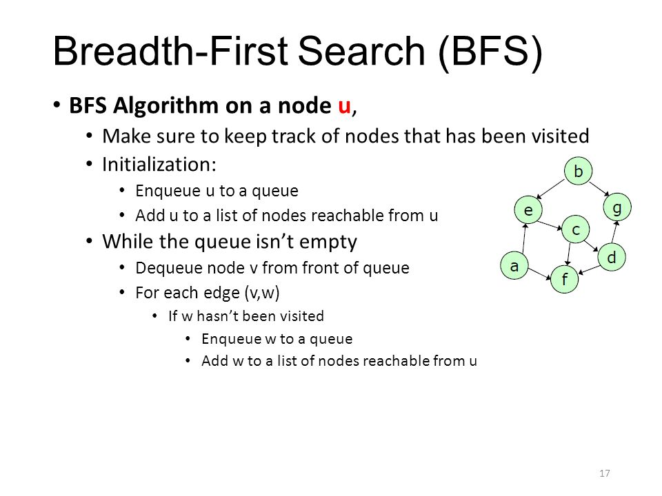 Breadth-First Search (BFS) BFS Algorithm on a node u, Make sure to keep track of nodes that has been visited Initialization: Enqueue u to a queue Add u to a list of nodes reachable from u While the queue isn't empty Dequeue node v from front of queue For each edge (v,w) If w hasn't been visited Enqueue w to a queue Add w to a list of nodes reachable from u 17