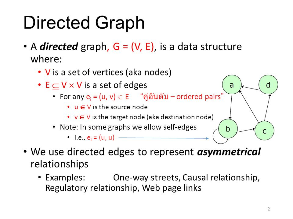 Undirected Graph An undirected graph, G = (V, E), is a data structure where: V is a set of vertices (aka nodes) E = { {u,v} | u, v  V } is a set of edges Here E is a set of คู่ไม่อันดับ – unordered pairs We use undirected edges to represent symmetrical relationships Examples: Two-way streets Network traffic Mazes Six degrees of separation (and Six degrees of Kevin Bacon) Six degrees of separation Six degrees of Kevin Bacon 3