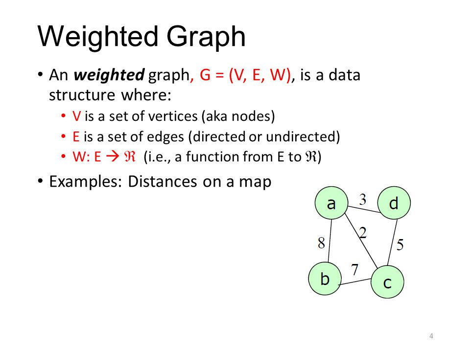 Weighted Graph An weighted graph, G = (V, E, W), is a data structure where: V is a set of vertices (aka nodes) E is a set of edges (directed or undire