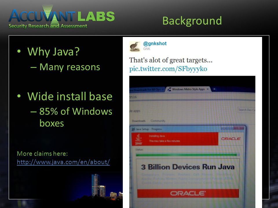 Background Why Java.