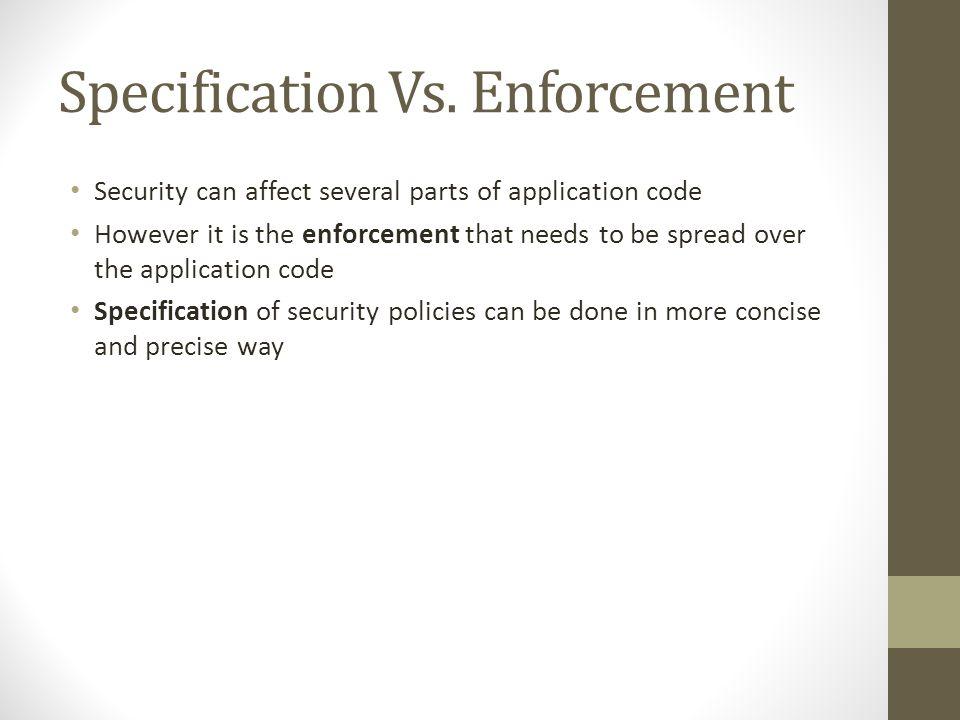 Specification Vs.