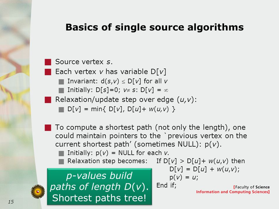 15 Basics of single source algorithms  Source vertex s.