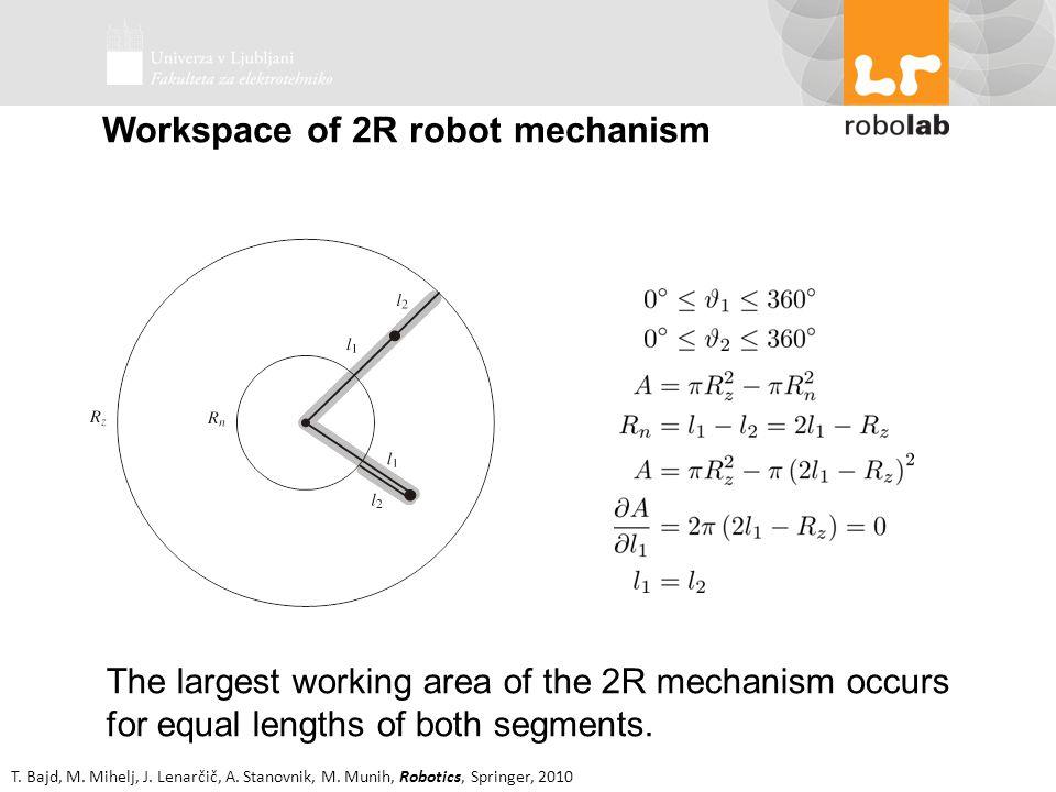 T. Bajd, M. Mihelj, J. Lenarčič, A. Stanovnik, M. Munih, Robotics, Springer, 2010 Workspace of 2R robot mechanism The largest working area of the 2R m
