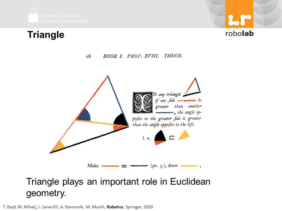 T. Bajd, M. Mihelj, J. Lenarčič, A. Stanovnik, M. Munih, Robotics, Springer, 2010 Triangle Triangle plays an important role in Euclidean geometry.