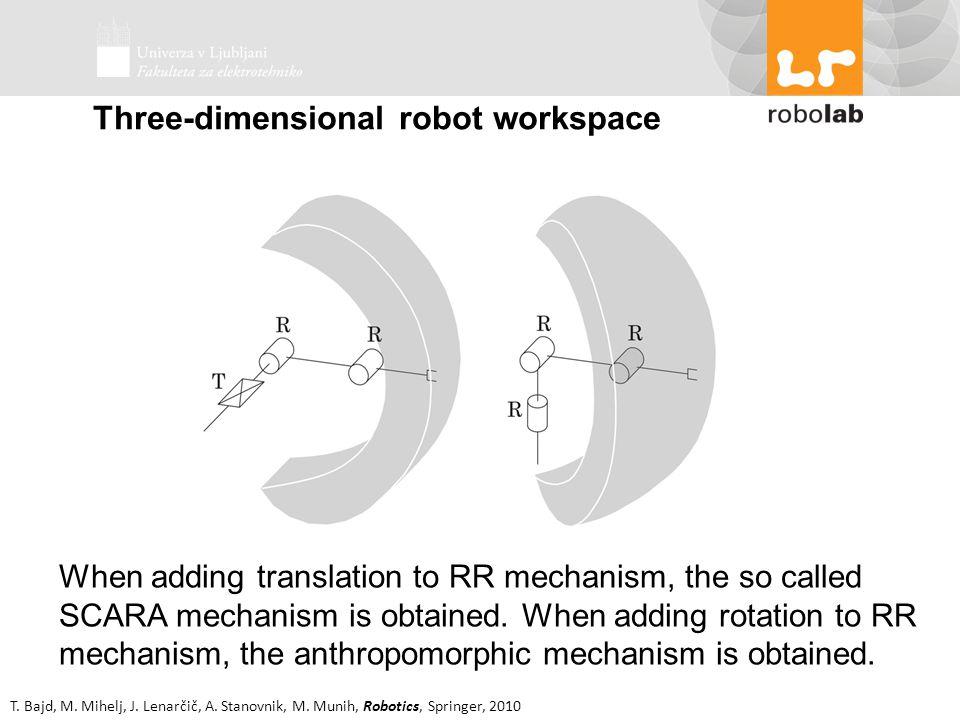 T. Bajd, M. Mihelj, J. Lenarčič, A. Stanovnik, M. Munih, Robotics, Springer, 2010 When adding translation to RR mechanism, the so called SCARA mechani