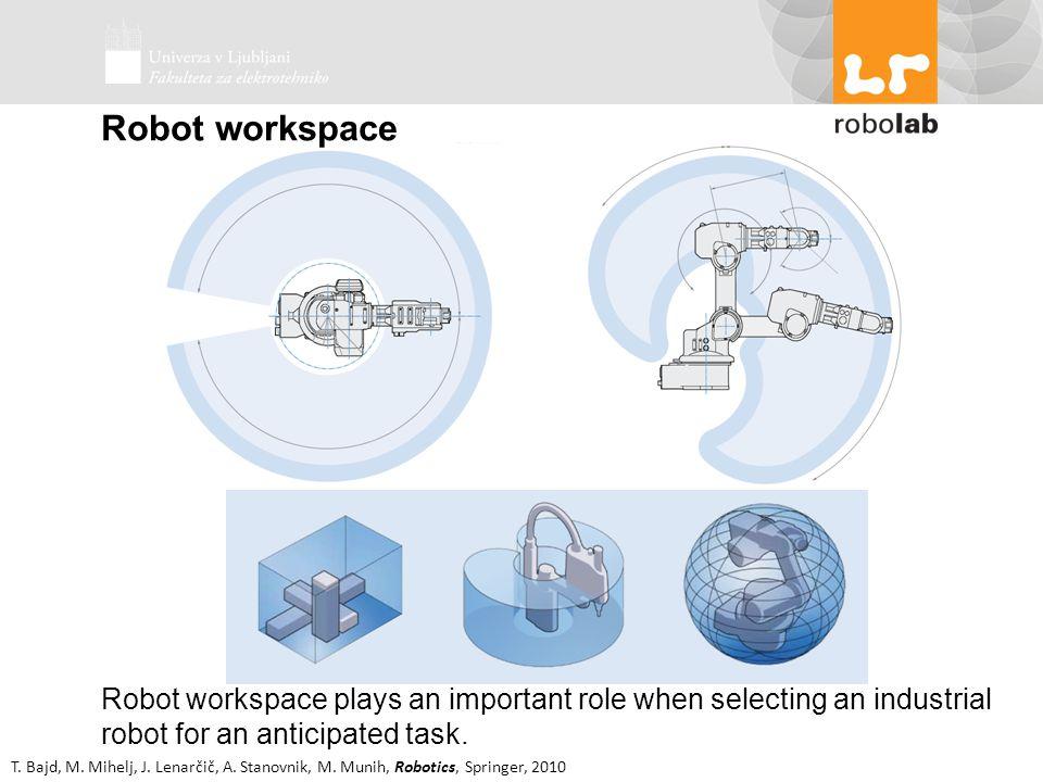 T. Bajd, M. Mihelj, J. Lenarčič, A. Stanovnik, M. Munih, Robotics, Springer, 2010 Robot workspace plays an important role when selecting an industrial