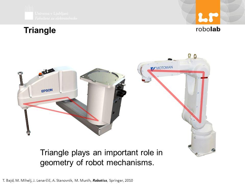 T. Bajd, M. Mihelj, J. Lenarčič, A. Stanovnik, M. Munih, Robotics, Springer, 2010 Triangle Triangle plays an important role in geometry of robot mecha