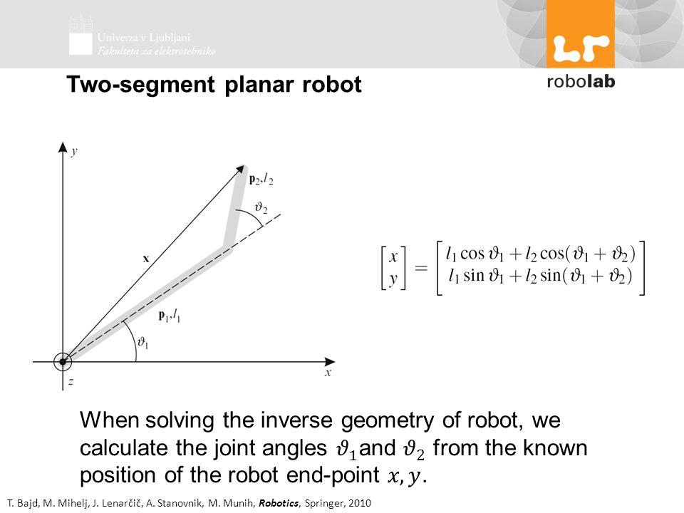 T. Bajd, M. Mihelj, J. Lenarčič, A. Stanovnik, M. Munih, Robotics, Springer, 2010 Two-segment planar robot