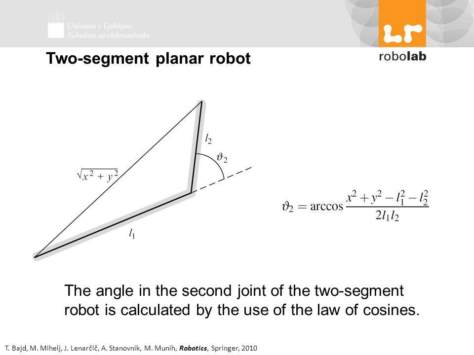 T. Bajd, M. Mihelj, J. Lenarčič, A. Stanovnik, M. Munih, Robotics, Springer, 2010 Two-segment planar robot The angle in the second joint of the two-se