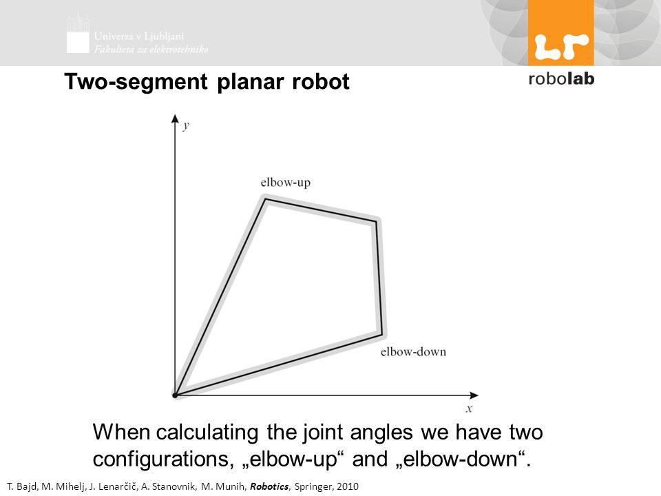 T. Bajd, M. Mihelj, J. Lenarčič, A. Stanovnik, M. Munih, Robotics, Springer, 2010 Two-segment planar robot When calculating the joint angles we have t