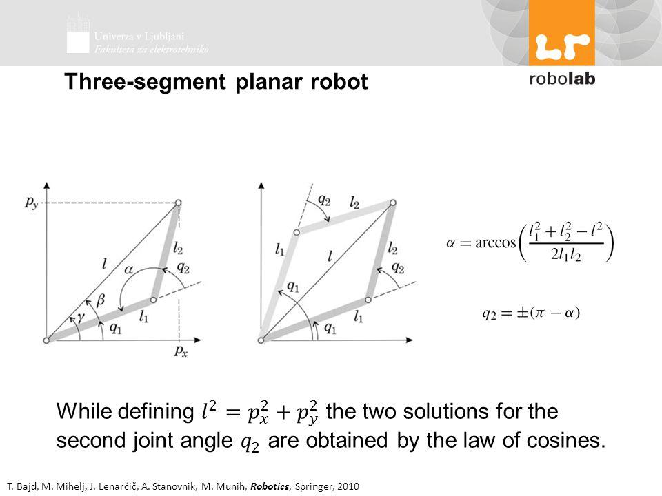 T. Bajd, M. Mihelj, J. Lenarčič, A. Stanovnik, M. Munih, Robotics, Springer, 2010 Three-segment planar robot