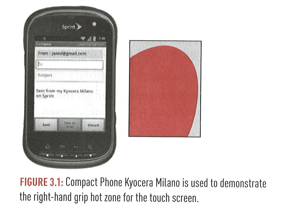 Full-Size Mobile Phones Representative sizes: 5 -6 X 3 device size 5 diagonal screen measurement Note that resolution is not mentioned Current device resolution tends to be high enough for UI purposes Higher resolution is nice to look at, but doesn't affect user interaction 16