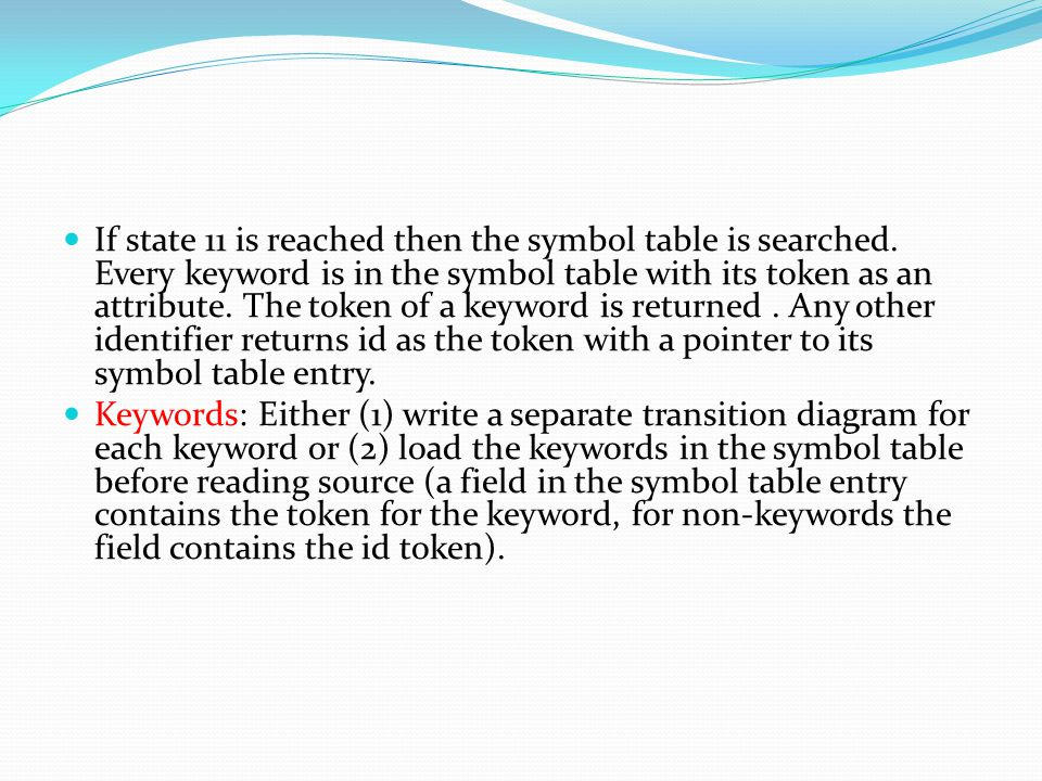 If state 11 is reached then the symbol table is searched.