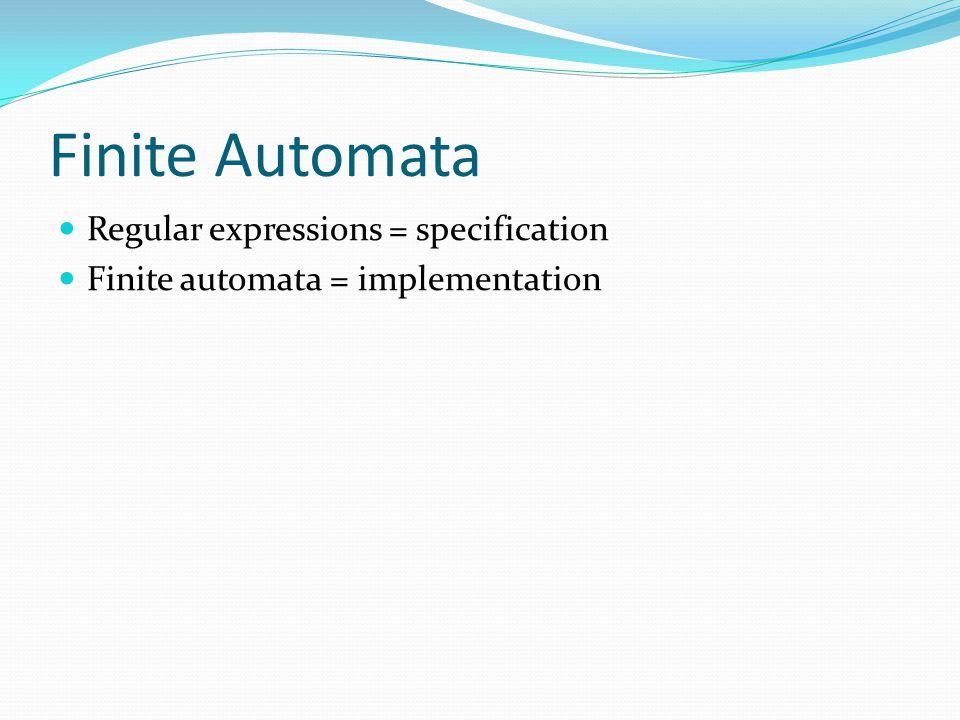 Finite Automata Regular expressions = specification Finite automata = implementation