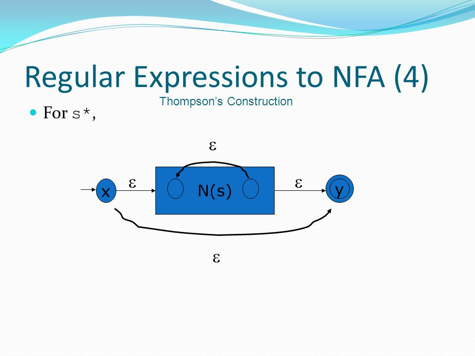 Regular Expressions to NFA (4) For s*, x y N(s)    Thompson's Construction