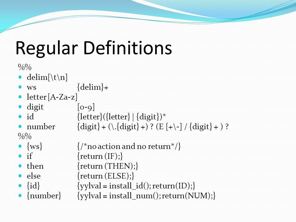 Regular Definitions % delim[\t\n] ws{delim}+ letter[A-Za-z] digit[0-9] id{letter}({letter} | {digit})* number{digit} + (\.{digit} +) .