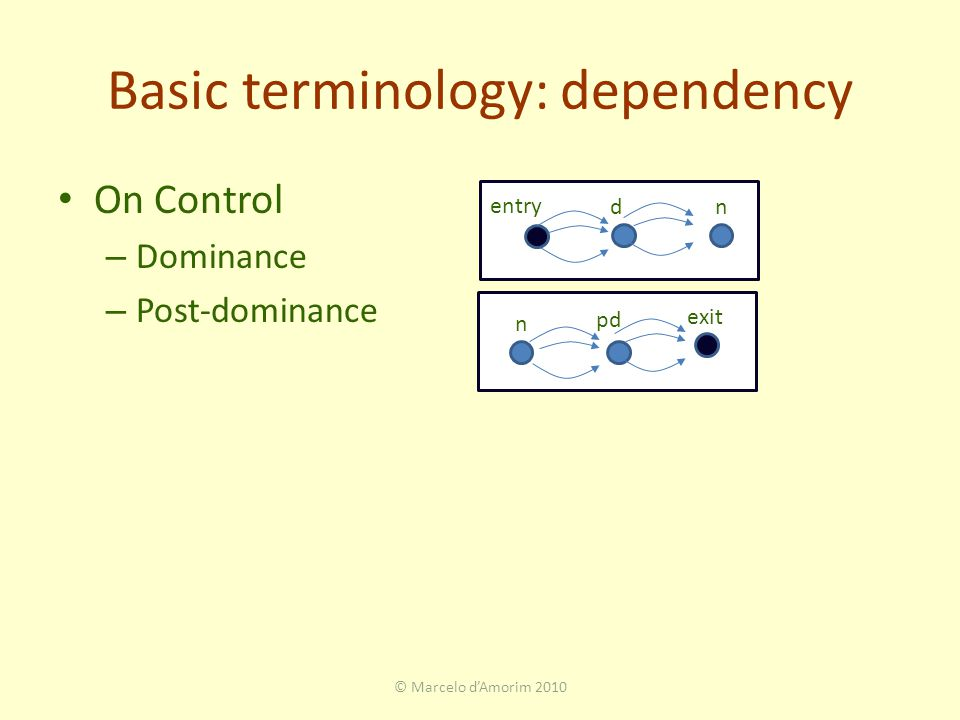 Basic terminology: dependency On Control – Dominance – Post-dominance © Marcelo d'Amorim 2010 dn entry n exit pd