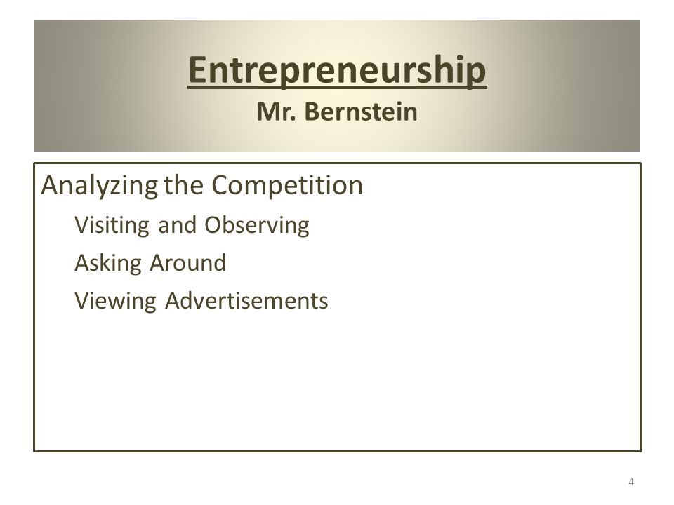 Entrepreneurship Mr.