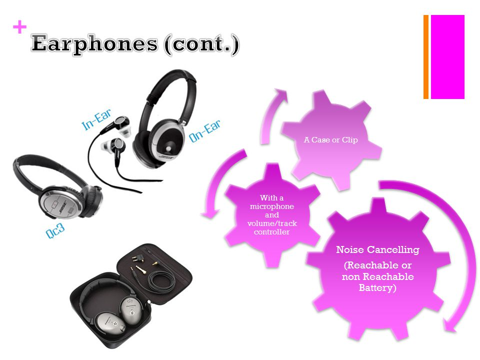 + Noise Cancelling (Reachable or non Reachable Battery) With a microphone and volume/track controller A Case or Clip