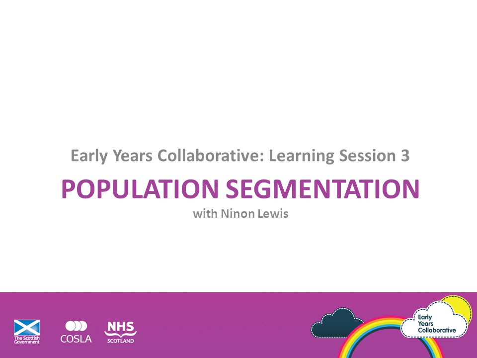 Objectives Explore together population segmentation concepts and strategies.