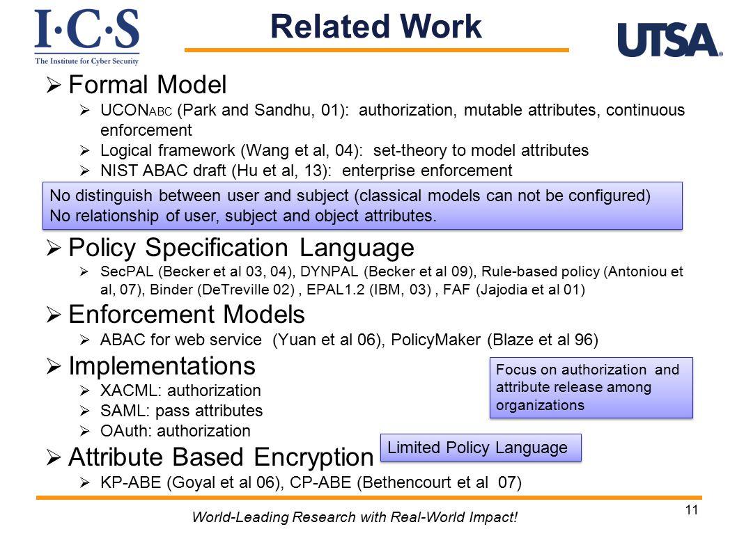 Formal Model  UCON ABC (Park and Sandhu, 01): authorization, mutable attributes, continuous enforcement  Logical framework (Wang et al, 04): set-theory to model attributes  NIST ABAC draft (Hu et al, 13): enterprise enforcement  Policy Specification Language  SecPAL (Becker et al 03, 04), DYNPAL (Becker et al 09), Rule-based policy (Antoniou et al, 07), Binder (DeTreville 02), EPAL1.2 (IBM, 03), FAF (Jajodia et al 01)  Enforcement Models  ABAC for web service (Yuan et al 06), PolicyMaker (Blaze et al 96)  Implementations  XACML: authorization  SAML: pass attributes  OAuth: authorization  Attribute Based Encryption  KP-ABE (Goyal et al 06), CP-ABE (Bethencourt et al 07) 11 World-Leading Research with Real-World Impact.