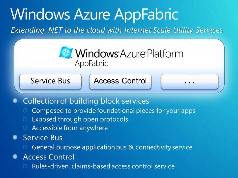 Extending.NET to the cloud with Internet Scale Utility Services