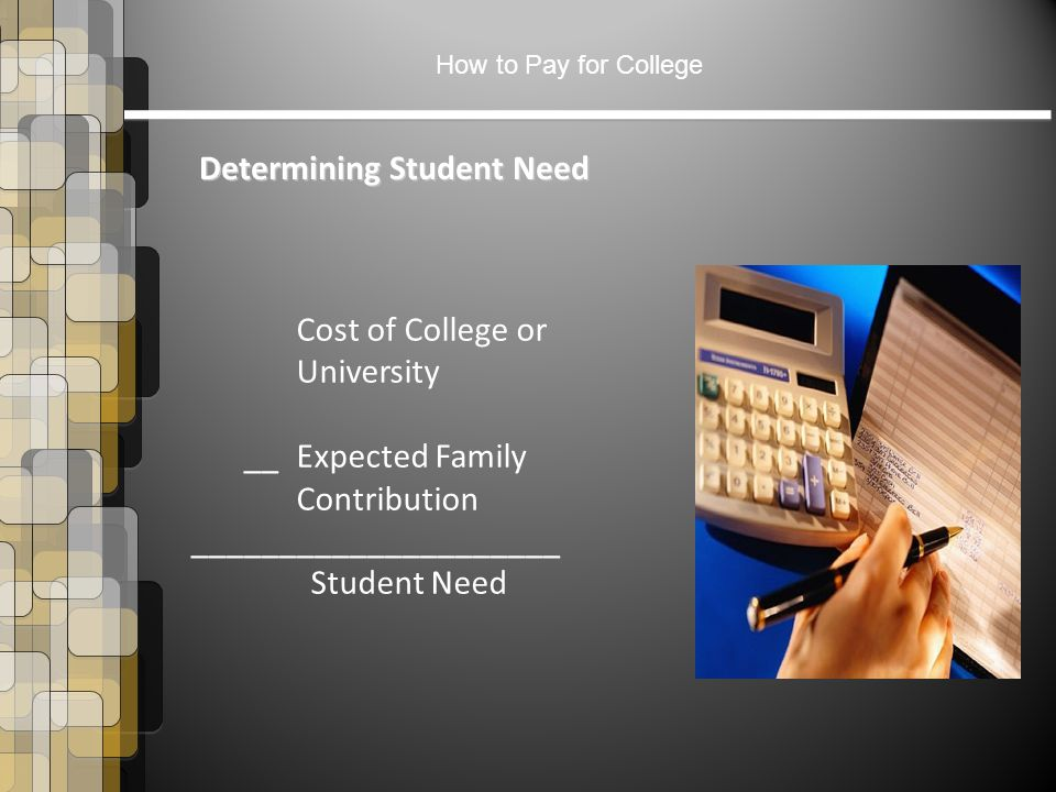 How to Pay for College Determining Student Need Cost of College or University __ Expected Family Contribution _____________________ Student Need