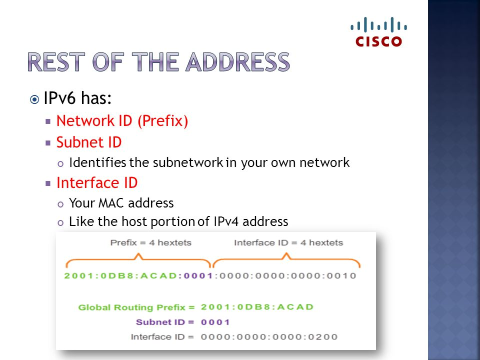  IPv6 has:  Network ID (Prefix)  Subnet ID Identifies the subnetwork in your own network  Interface ID Your MAC address Like the host portion of IPv4 address
