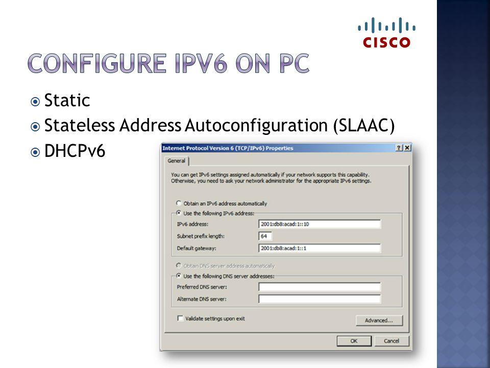  Static  Stateless Address Autoconfiguration (SLAAC)  DHCPv6