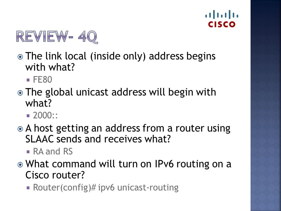  The link local (inside only) address begins with what.