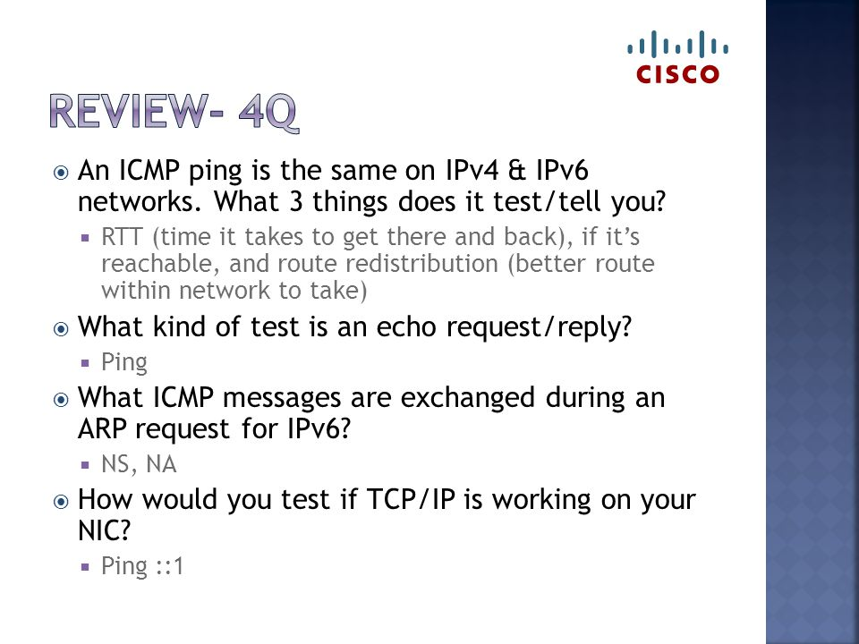  An ICMP ping is the same on IPv4 & IPv6 networks.