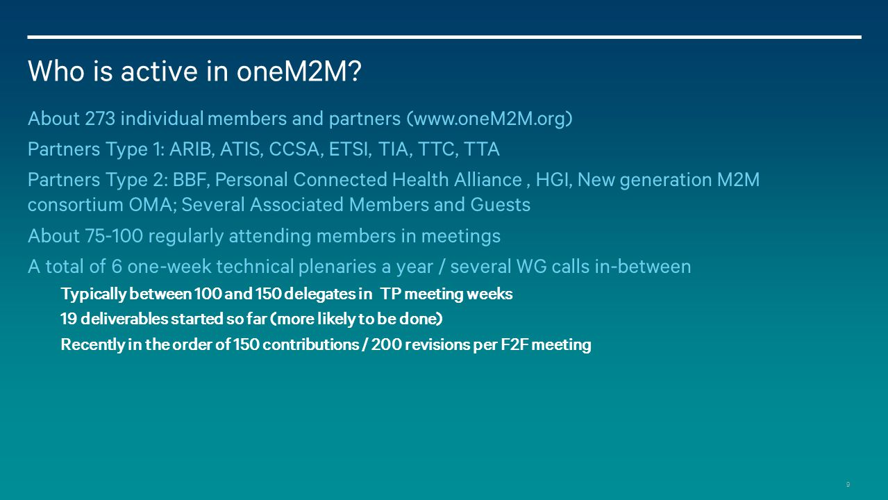 9 Who is active in oneM2M.