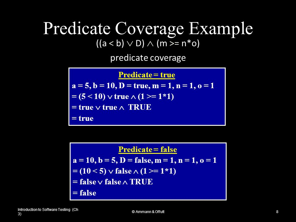 Introduction to Software Testing (Ch 3) © Ammann & Offutt8 Predicate Coverage Example ((a = n*o) predicate coverage Predicate = true a = 5, b = 10, D