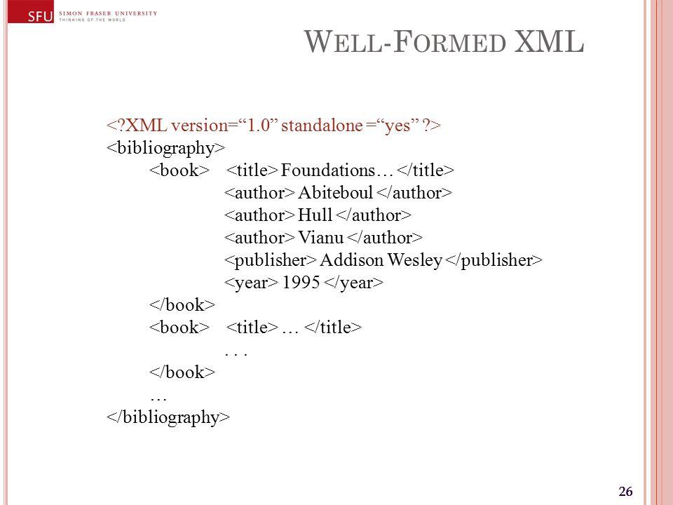 26 W ELL -F ORMED XML Foundations… Abiteboul Hull Vianu Addison Wesley 1995 …... …