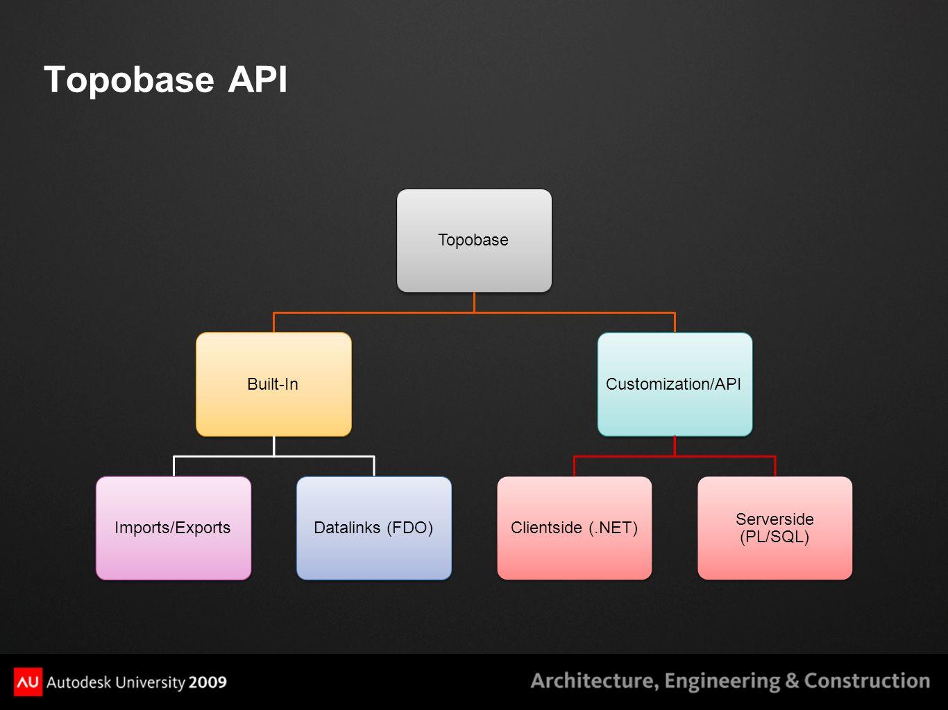 Topobase API TopobaseBuilt-InImports/ExportsDatalinks (FDO)Customization/APIClientside (.NET) Serverside (PL/SQL)