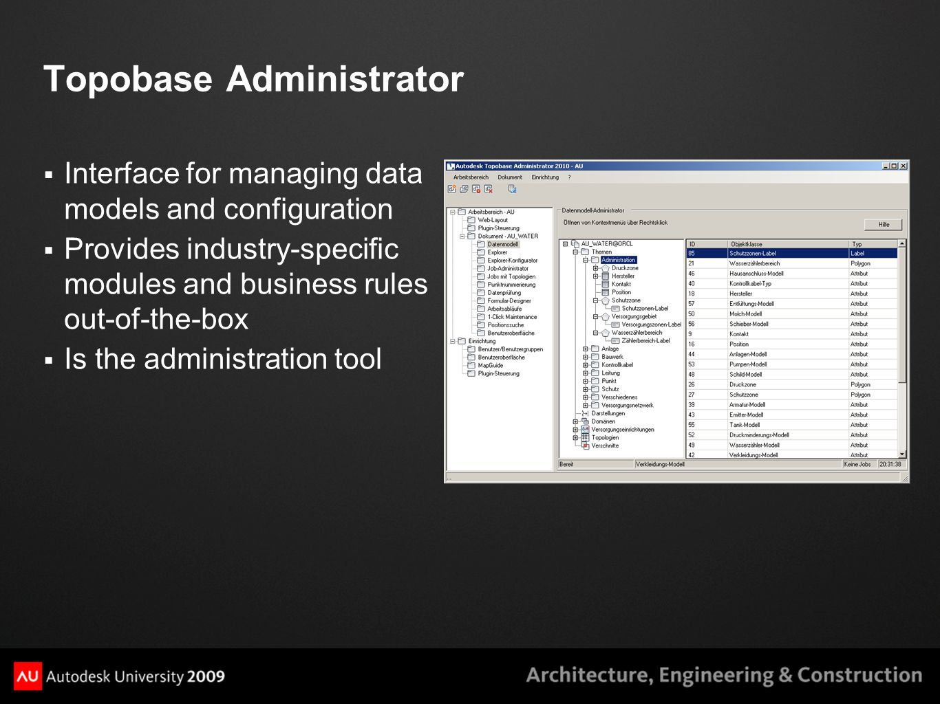 Topobase Administrator  Interface for managing data models and configuration  Provides industry-specific modules and business rules out-of-the-box 