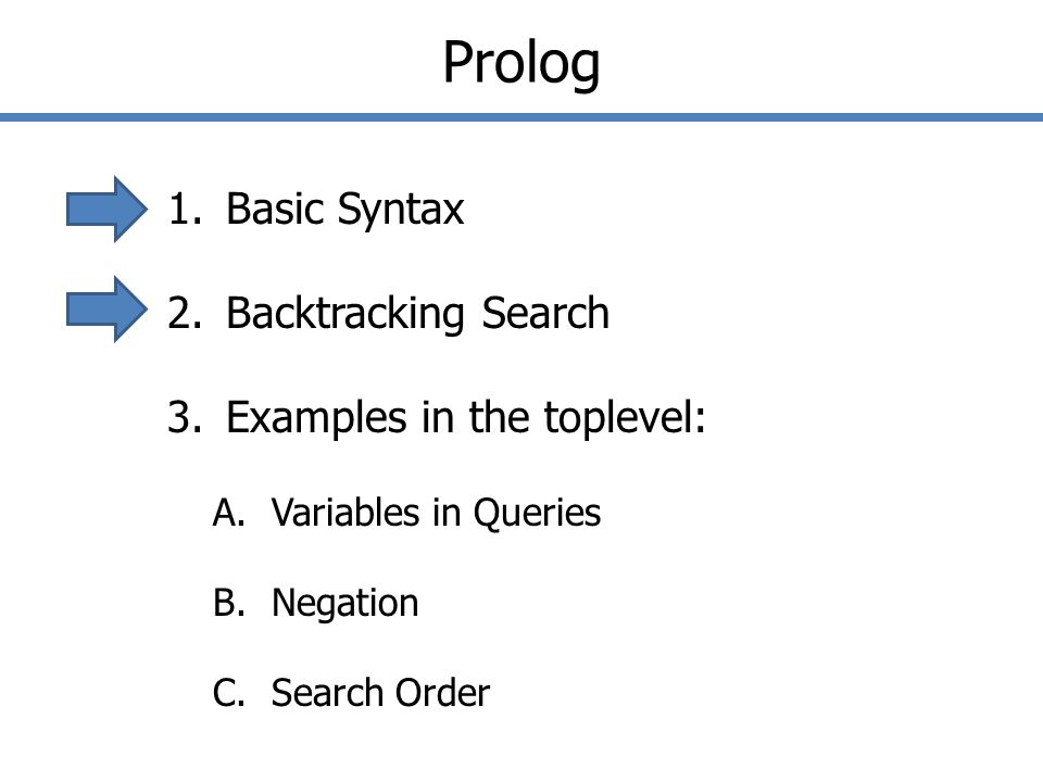Prolog 1.Basic Syntax 2.Backtracking Search 3.Examples in the toplevel: A.Variables in Queries B.Negation C.Search Order