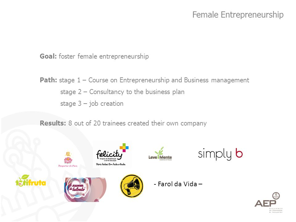 Female Entrepreneurship Goal: foster female entrepreneurship Path: stage 1 – Course on Entrepreneurship and Business management stage 2 – Consultancy