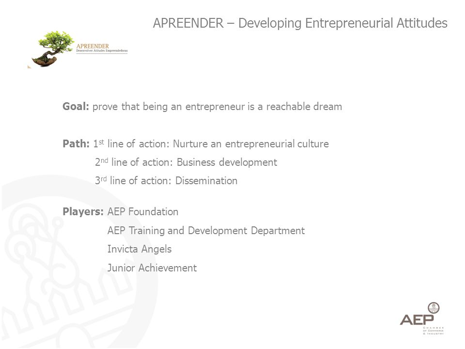 APREENDER – Developing Entrepreneurial Attitudes Goal: prove that being an entrepreneur is a reachable dream Path: 1 st line of action: Nurture an entrepreneurial culture 2 nd line of action: Business development 3 rd line of action: Dissemination Players: AEP Foundation AEP Training and Development Department Invicta Angels Junior Achievement