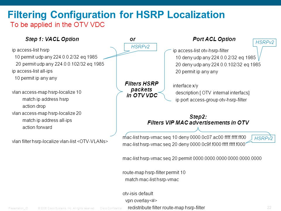© 2006 Cisco Systems, Inc. All rights reserved.Cisco ConfidentialPresentation_ID 22 Filtering Configuration for HSRP Localization ip access-list hsrp